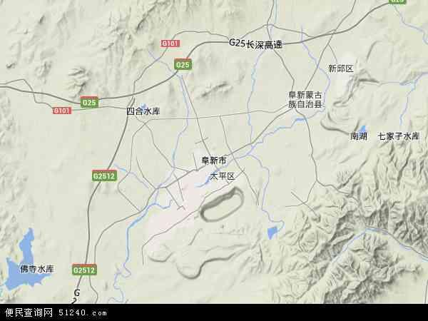 中国辽宁省阜新市地图(卫星地图)
