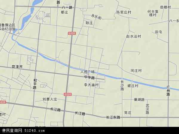 中国山东省菏泽市牡丹区何楼地图(卫星地图)