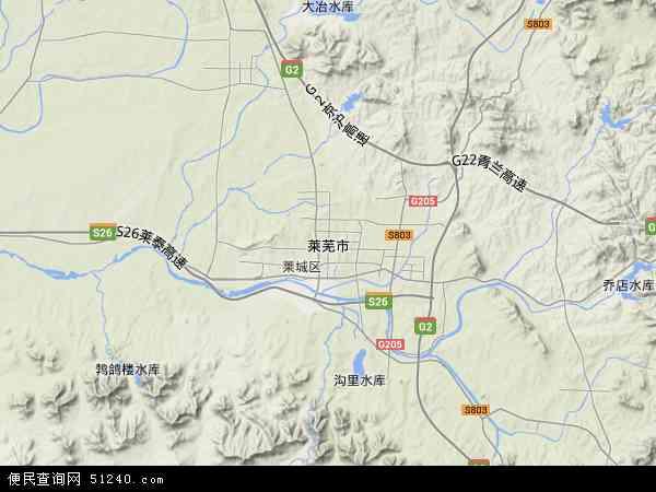中国山东省莱芜市地图(卫星地图)