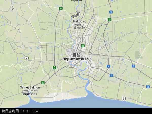 曼谷地图 - 曼谷卫星地图