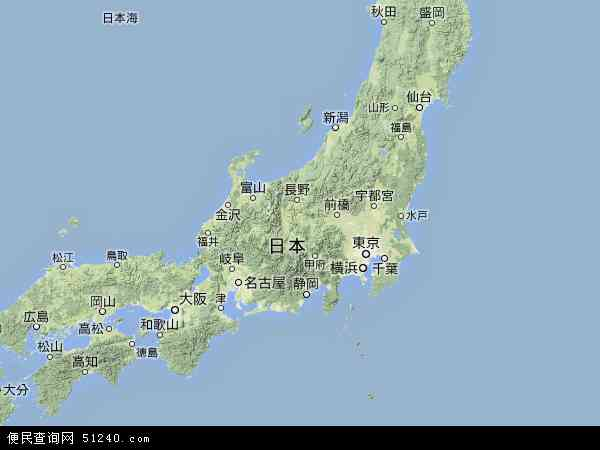 日本地形图 - 日本地形图高清版 - 2016年日本地形图