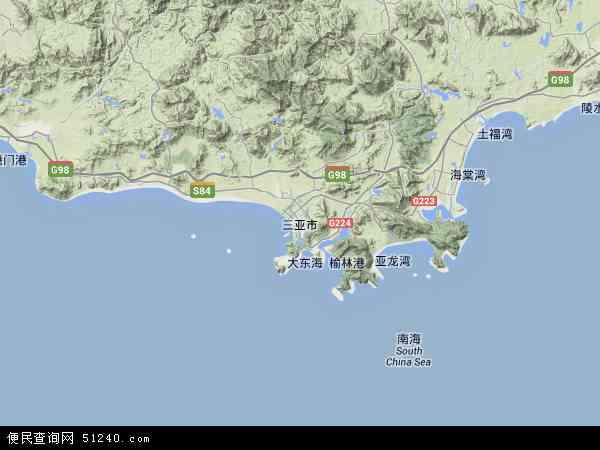 中国海南省三亚市地图(卫星地图)