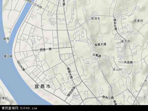 中国湖北省宜昌市西陵区云集地图(卫星地图)