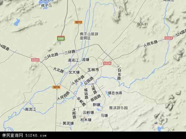 中国广西壮族自治区玉林市地图(卫星地图)