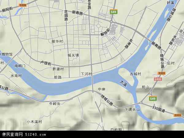 中国浙江省丽水市莲都区紫金地图(卫星地图)图片