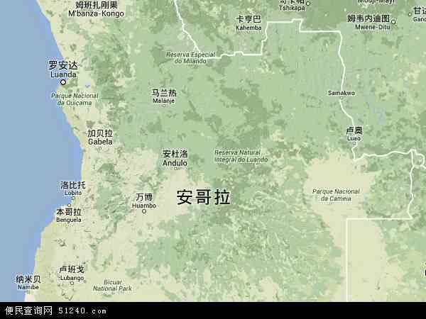安哥拉地图 - 安哥拉卫星地图