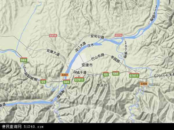 中国陕西省安康市地图(卫星地图)