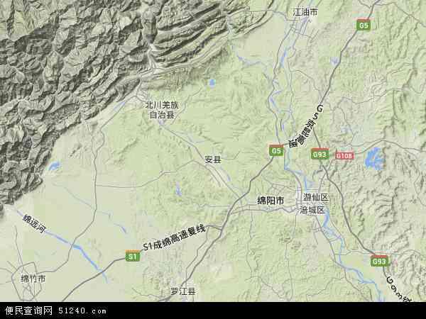 安县地图 - 安县卫星地图