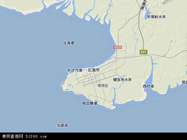 北海市地图 - 北海市卫星地图