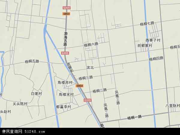 中国山东省滨州市滨城区滨北地图(卫星地图)