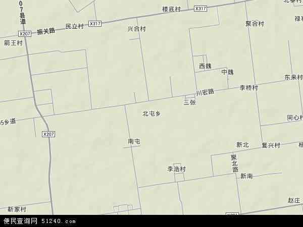 中国陕西省西安市阎良区北屯地图(卫星地图)