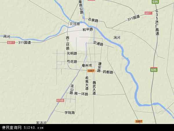 中国安徽省亳州市地图(卫星地图)