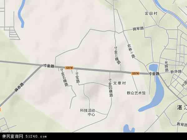 中国广东省湛江市赤坎区寸金地图(卫星地图)