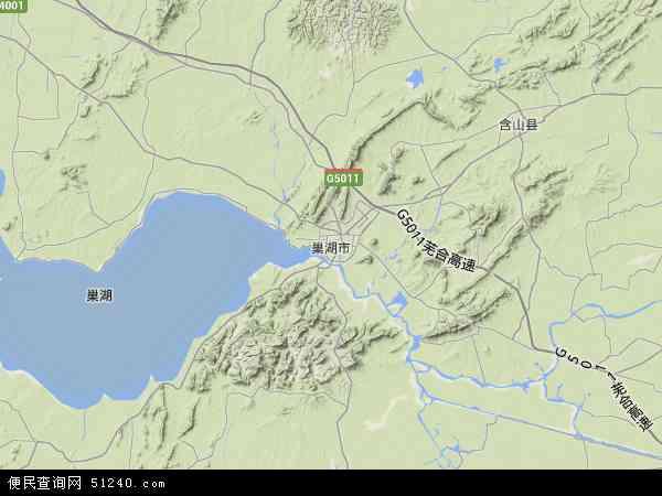 巢湖市地图 - 巢湖市卫星地图图片