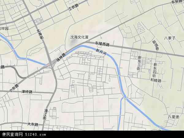 中国辽宁省沈阳市大东区东塔地图(卫星地图)