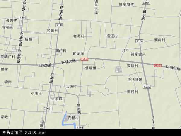 中国浙江省宁波市余姚市低塘地图(卫星地图)