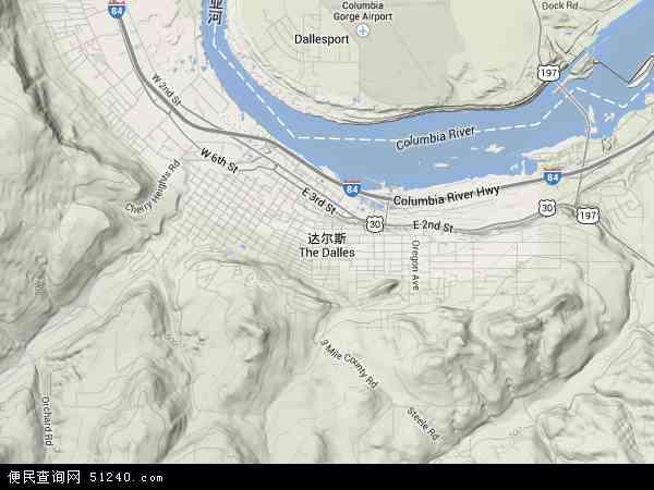 美国俄勒冈达尔斯地图(卫星地图)