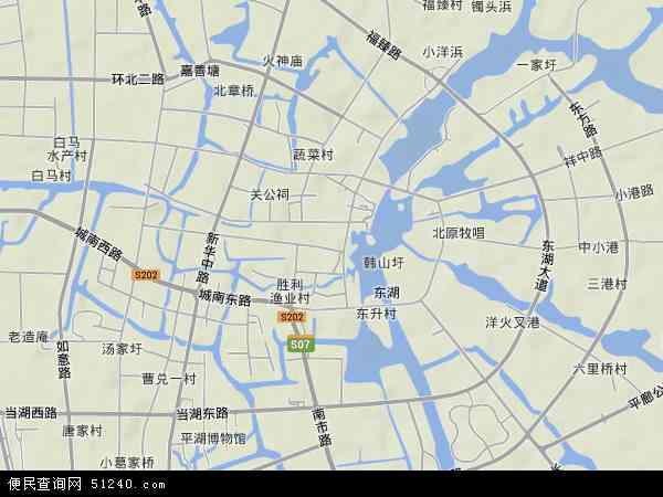 中国浙江省嘉兴市平湖市当湖地图(卫星地图)