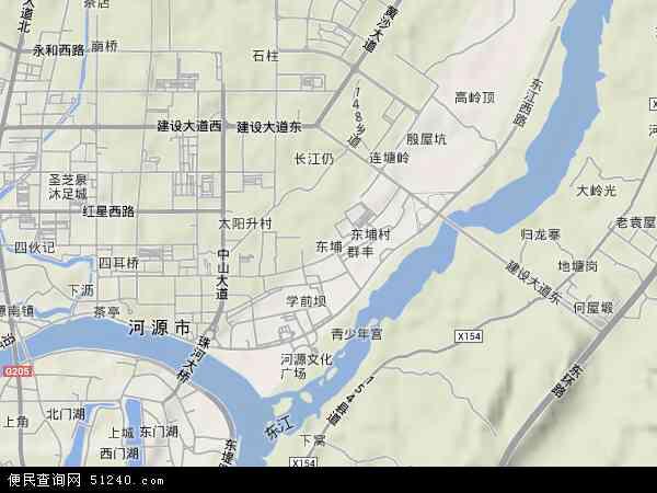 中国广东省河源市源城区东埔地图(卫星地图)