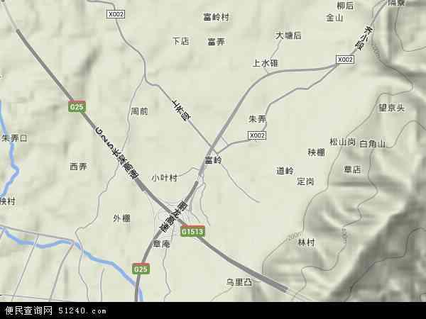 中国浙江省丽水市莲都区富岭地图(卫星地图)图片
