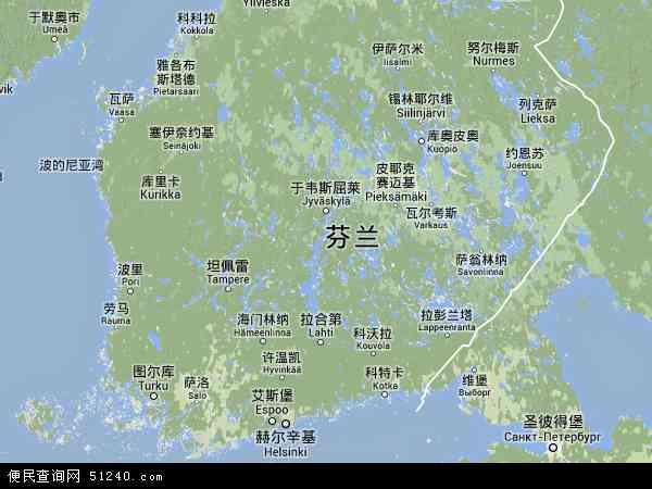 芬兰地图(卫星地图)