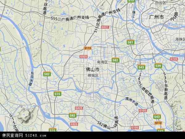 中国广东省佛山市地图(卫星地图)