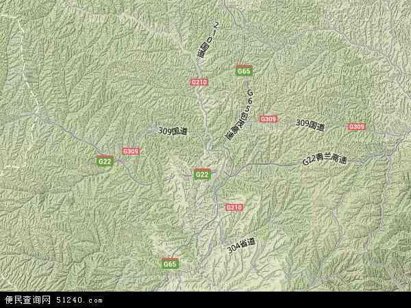 中国陕西省延安市富县地图(卫星地图)