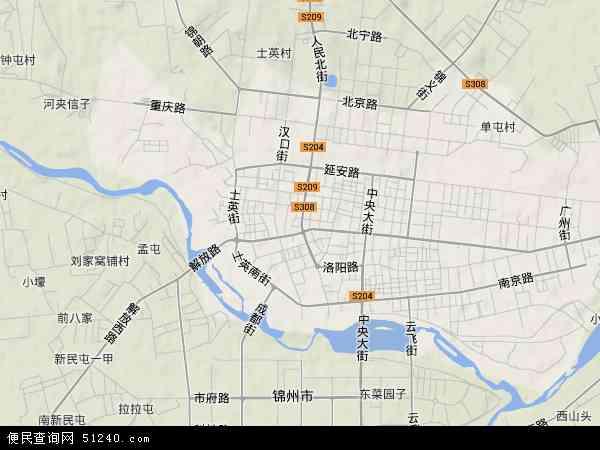 中国辽宁省锦州市古塔区地图(卫星地图)