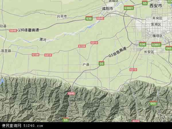 中国陕西省西安市户县地图(卫星地图)