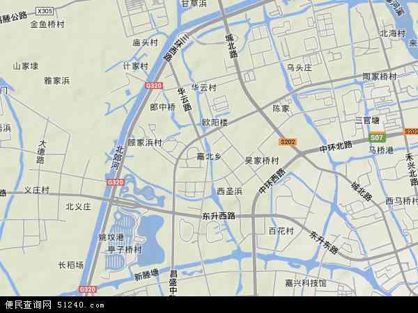 中国浙江省嘉兴市秀洲区嘉北地图(卫星地图)
