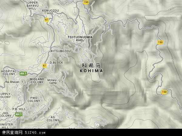 印度科希马地图(卫星地图)