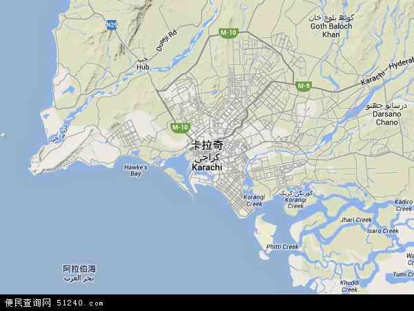 卡拉奇地图 - 卡拉奇卫星地图