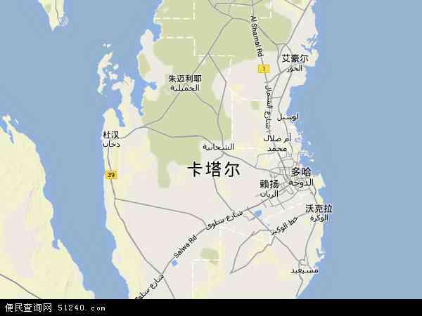 卡塔尔地形图 - 卡塔尔地形图高清版 - 2016年卡塔尔地形图