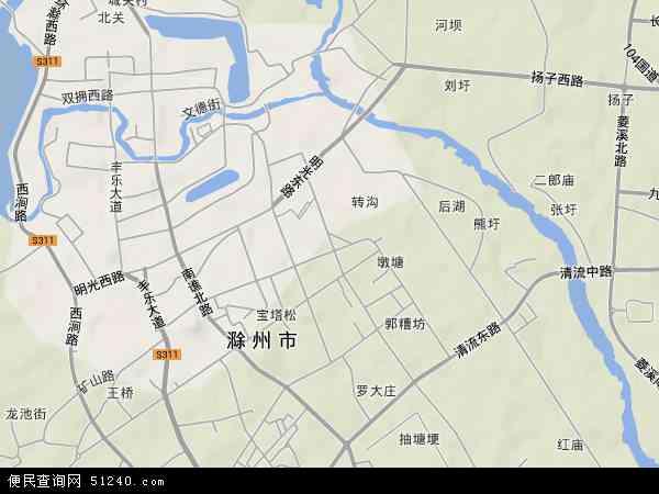 中国安徽省滁州市琅琊区琅琊地图(卫星地图)