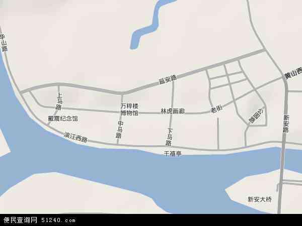 中国安徽省黄山市屯溪区老街地图(卫星地图)