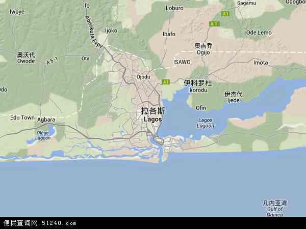 尼日利亚拉各斯地图(卫星地图)