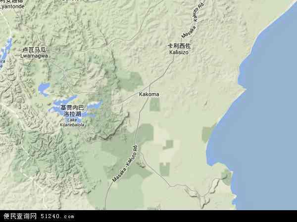 乌干达拉卡伊地图(卫星地图)