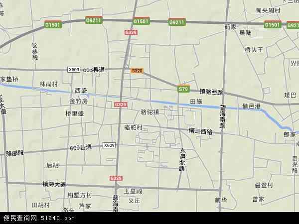 中国浙江省宁波市镇海区骆驼地图(卫星地图)