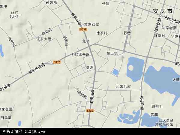中国安徽省安庆市大观区菱湖地图(卫星地图)