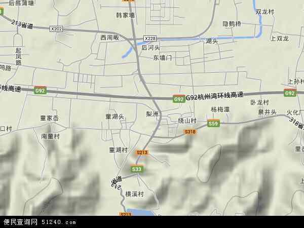 中国浙江省宁波市余姚市梨洲地图(卫星地图)
