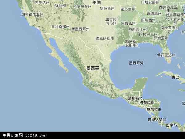 墨西哥地形图 - 墨西哥地形图高清版 - 2016年墨西哥地形图