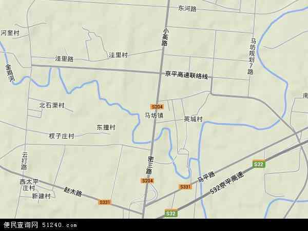 中国北京市平谷区马坊地图(卫星地图)