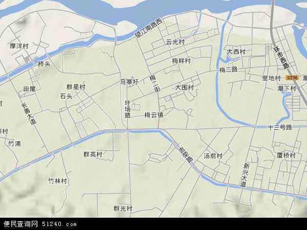 中国广东省揭阳市榕城区梅云地图(卫星地图)