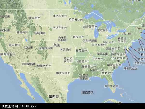 美国地图(卫星地图)