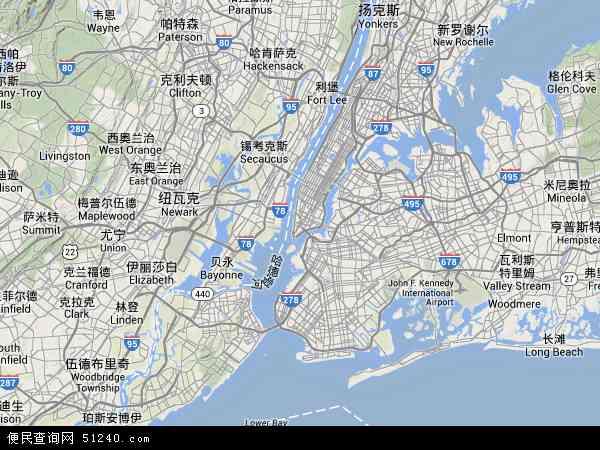 美国纽约地图(卫星地图)