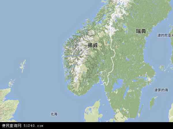挪威地形图 - 挪威地形图高清版 - 2016年挪威地形图