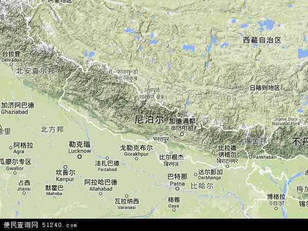 尼泊尔地形图 - 尼泊尔地形图高清版 - 2016年尼泊尔地形图