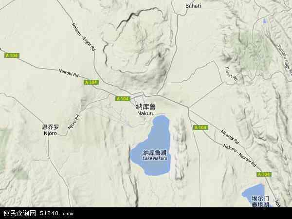肯尼亚纳库鲁地图(卫星地图)