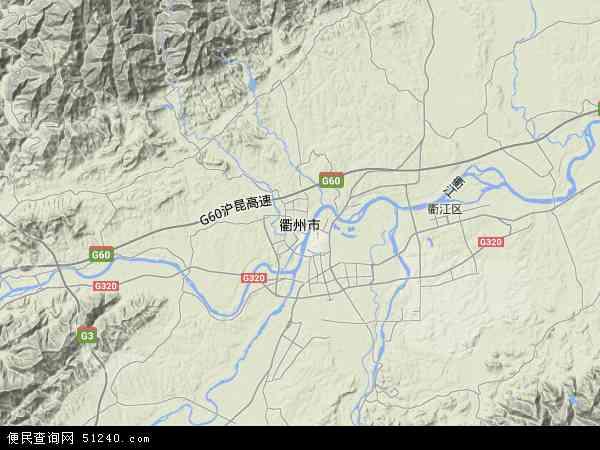中国浙江省衢州市地图(卫星地图)
