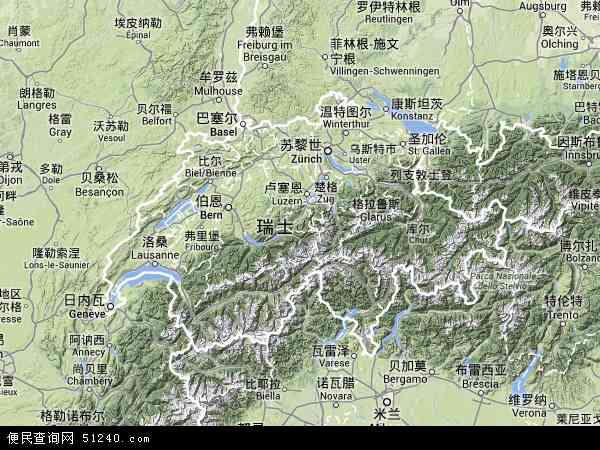 瑞士地图(卫星地图)
